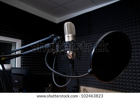 radio studio - stock photo