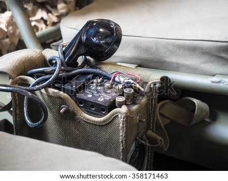 Radio Telephone portable equipped on US military jeep during World War II. - stock photo
