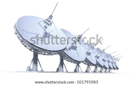 radio telescopes isolated on white background, 3d render, work path included - stock photo