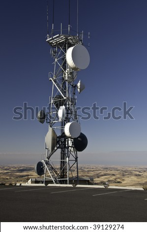 Radio tower on top of Steppe Butte in Washington 3100 feet above sea level. - stock photo