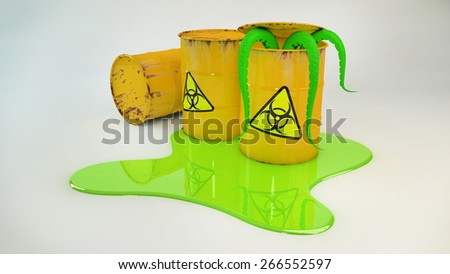 Radioactive barrels in a puddle. Green tentacles emerge from the barrel. 3D - stock photo