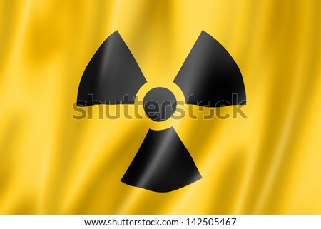 radioactive nuclear symbol flag, three dimensional render, satin texture - stock photo