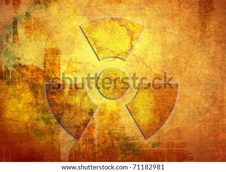 Radioactive symbol, industrial grunge background, dirty scratched surface - stock photo