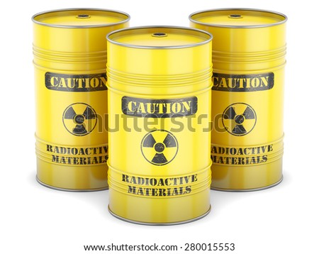 Radioactive waste nuclear barrels yellow sign isolated - stock photo