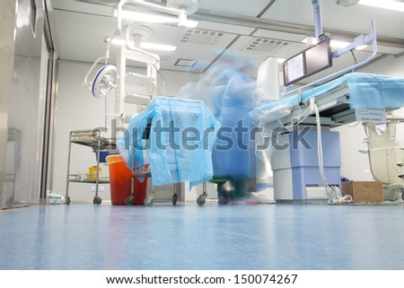 Radiology interventional catheter operation room?Operation in progress - stock photo