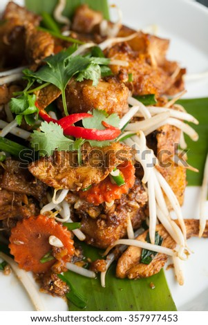 Radish Cake Thai Food Dish - stock photo