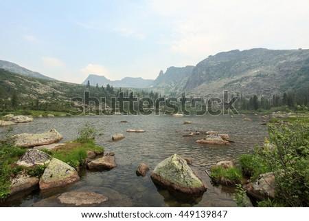 Raduzhnoye Lake. Sayan Mountains Natural Park Ergaki. Krasnoyarskiy krai, Russia. - stock photo