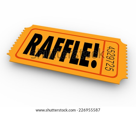 Raffle word on orange ticket for you to enter to win a drawing for a cash prize or other award - stock photo