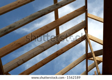 rafters from first floor perspective - stock photo