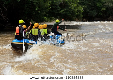 Rafting adventure in Khek river, north of Thailand - stock photo