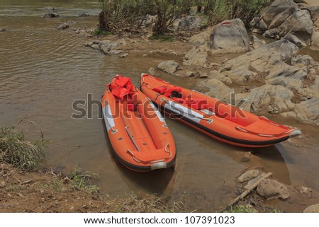 Rafting boats in river - stock photo
