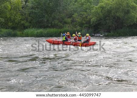 Rafting on Southern Bug river, Ukraine - stock photo
