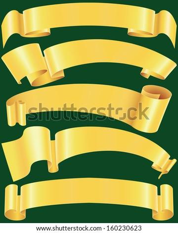 Ragged gold banners set - stock photo