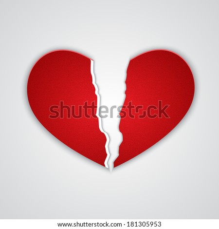 Ragged paper heart. Raster version - stock photo