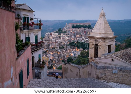Ragusa Ibla cityscape at sunset in Val di Noto. Sicily, Italy. - stock photo