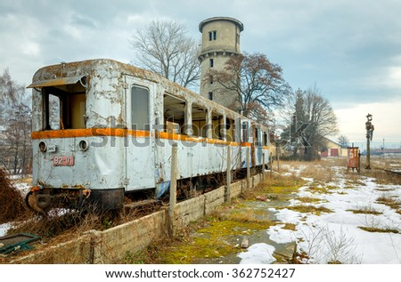 Rail car made in 1927 at the station is the country's oldest narrow-gauge railway - Bansko, Bulgaria - stock photo