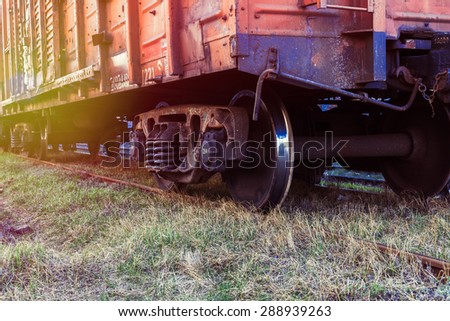Rail freight car close-up - stock photo