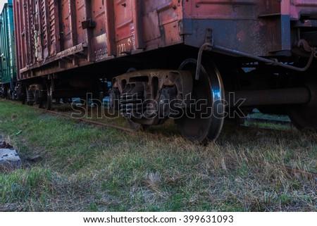 Rail freight car close-up - stock photo