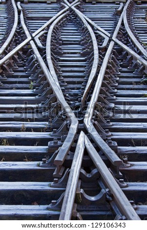 Rail lines in early morning after a heavy overnight frost in midwinter - stock photo