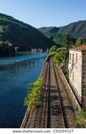 Rail near Serchio river, italy - stock photo