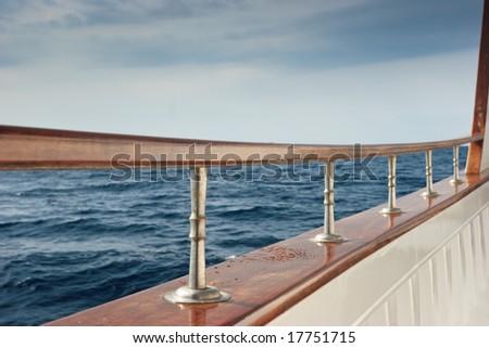 Rail of Pleasure boat sailing the Aegean sea - stock photo