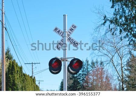 Rail Road Crossing Lights - stock photo