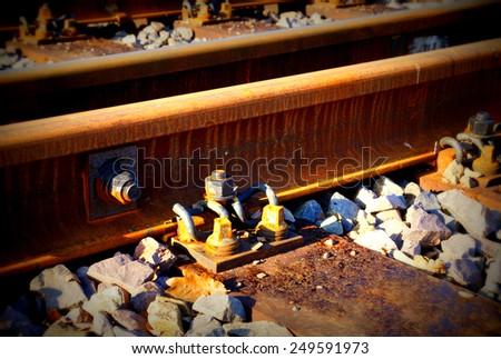 Rail track in the sun - stock photo