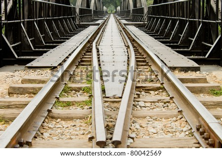 Rail with wood and stone - stock photo