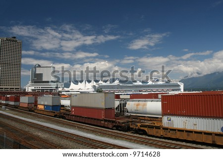 Rail Yard With Cargo Train on Vancouver's East Side - stock photo