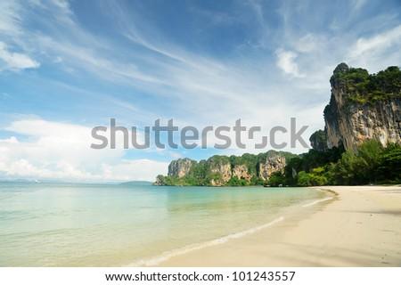 Railay beach in Krabi Thailand - stock photo