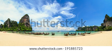 Railay beach, Krabi, Andaman sea Thailand - stock photo