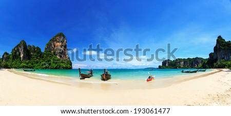 Railay beach, Krabi, Andaman sea Thailand - stock photo