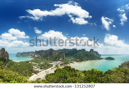 Railay beach Krabi Thailand. Panoramic view of tropical seacoast - stock photo