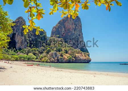 Railay west beach view, Krabi, Andaman sea Thailand  - stock photo