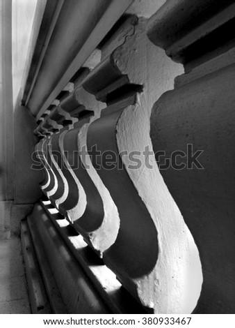 railing concrete. Classic railing concrete design on the terrace.Old concrete. - stock photo