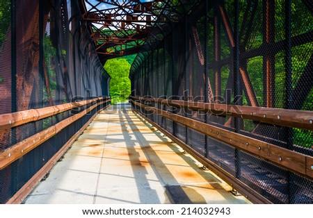 Railroad and pedestrian bridge at Lehigh Gorge State Park, Pennsylvania. - stock photo