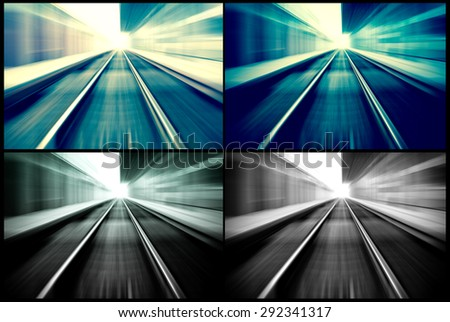 railroad blurred with zoom of collage - stock photo