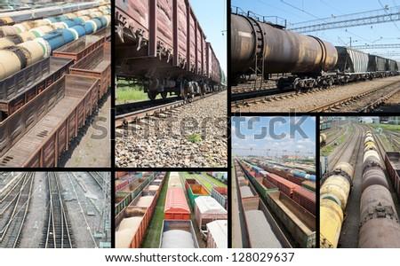 Railroad collage - stock photo