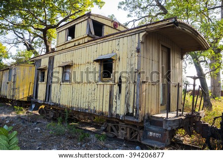 Railroad container with more rusty old - stock photo