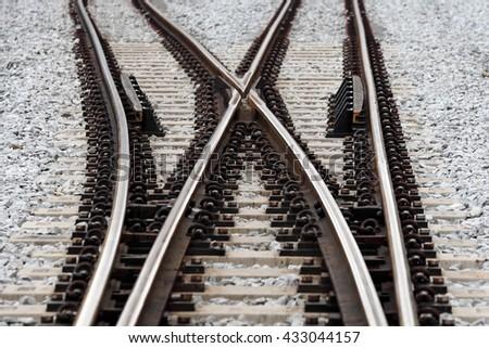 Railroad crossover track.  - stock photo