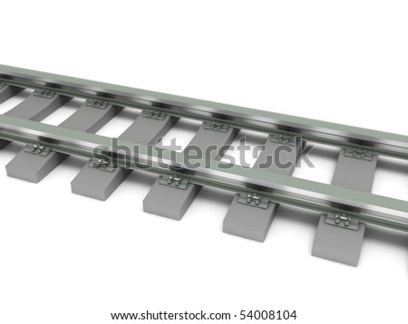 Railroad isolated on white background. High quality 3d render. - stock photo