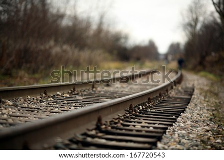 railroad rails - stock photo