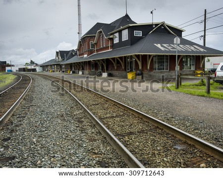 Railroad station, Kenora, Lake Of The Woods, Ontario, Canada - stock photo