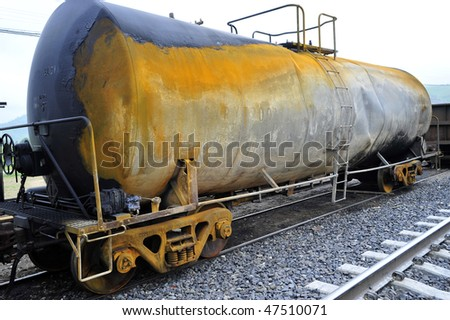 Railroad tank car has been involved in an accident and sidelined - stock photo