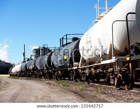 Railroad tank cars - stock photo