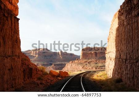 Railroad Through Remote Desert Canyon - stock photo