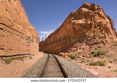 Railroad track in the Southwestern United States, Utah, USA - stock photo