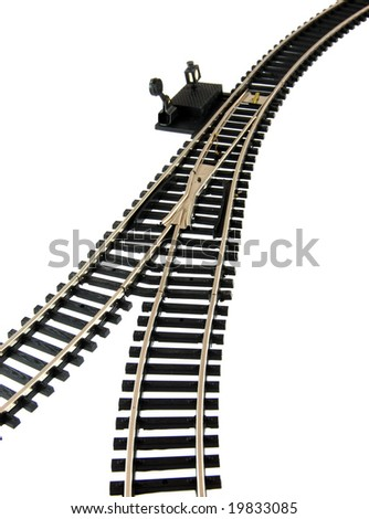 Railroad Track on white background - stock photo
