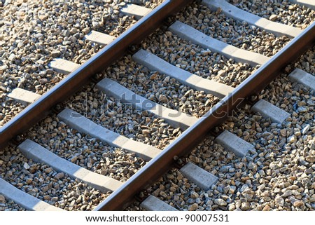 Railroad Track (view from above) - stock photo