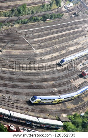 Railroad Tracks in Hamburg, Germany, Europe. - stock photo